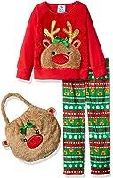 Bunz Kidz Girls' Reindeer 2pc Pajama Set with Plush Bag