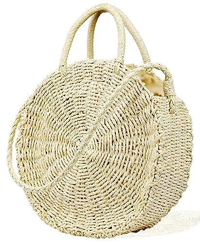 Womens Summer Beach Straw Crochet Bags Handmade Round Crossbody Handbag