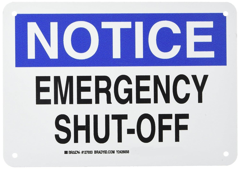 LegendEmergency Shut-Off Black and Blue on White LegendEmergency Shut-Off 7 Height 10 Width 10 Width 7 Height Brady 127033 Electrical Hazard Sign