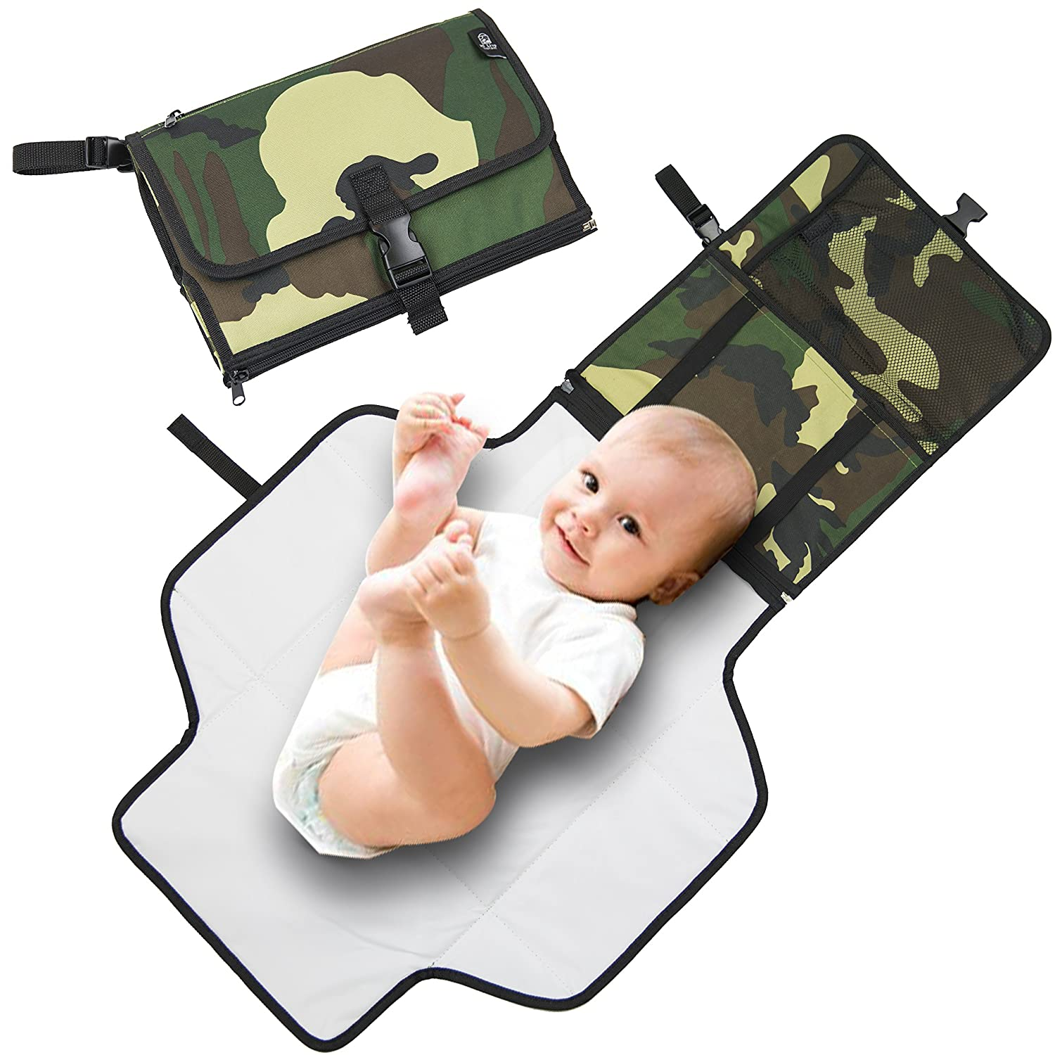 HI Live Vibrant Portable Changing Station - Wipeable and Portable Design - Fits Disposable Pads for Light and Easy Travel - Plush Solid Folding Case for Your Baby - Infant Kit 90-OIVV-468E