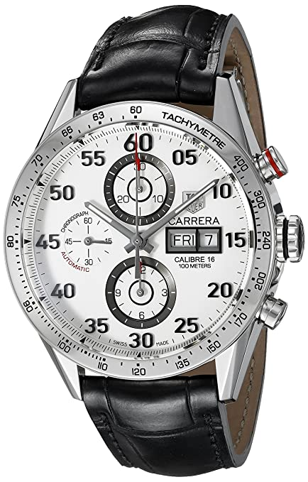 TAG Heuer Men's Analog Automatic Watch with Patent Leather Strap CV2A11.FC6235