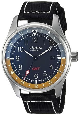 Alpina Startimer Pilot Quartz Watch Mm GMT Grey Nato Yellow - Alpina gmt