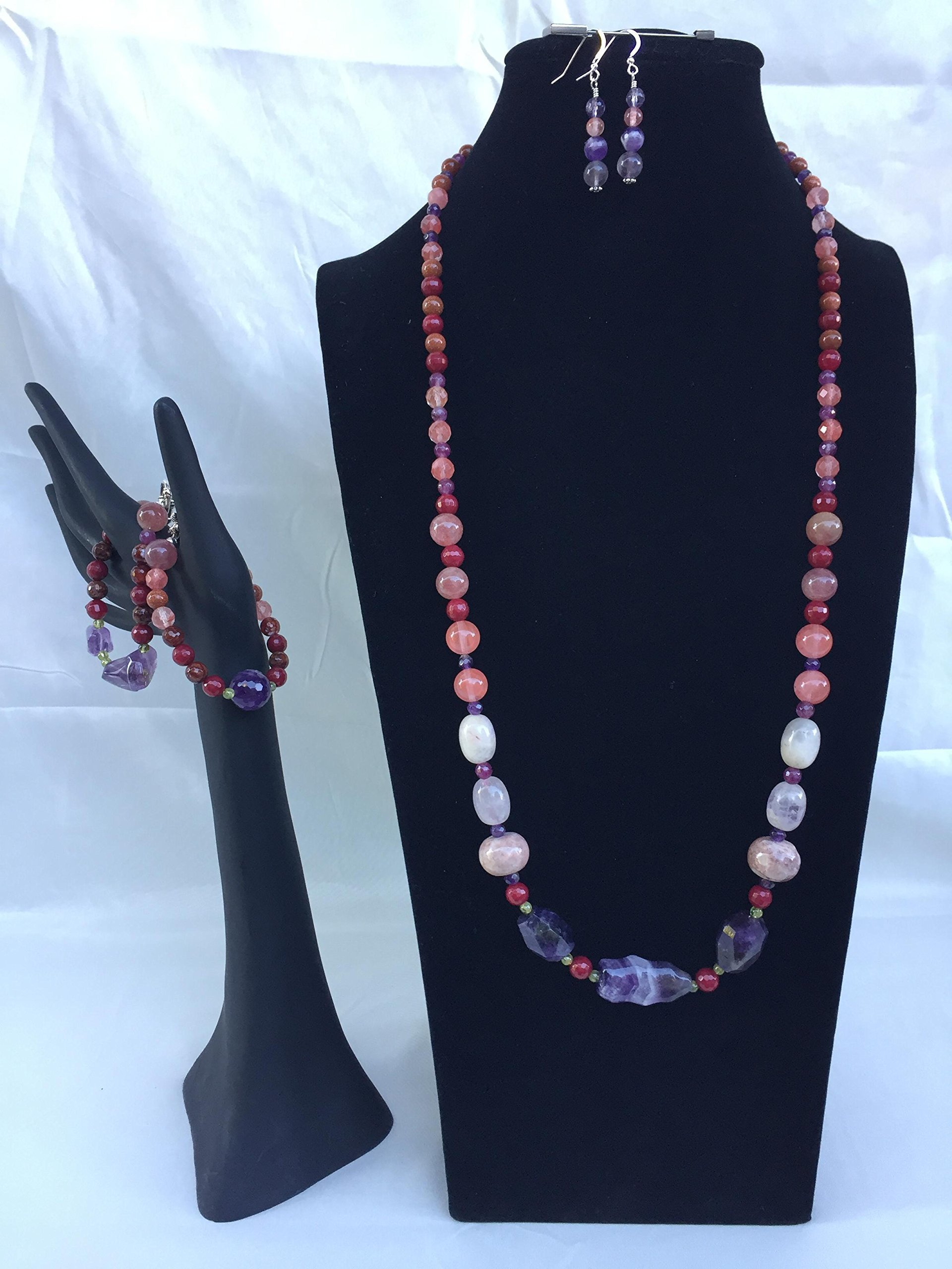 Fantastic handmade gemstone jewelry set with a long necklace, two bracelets and matching dangle earrings. Amethyst and mixed gemstones. One of a kind