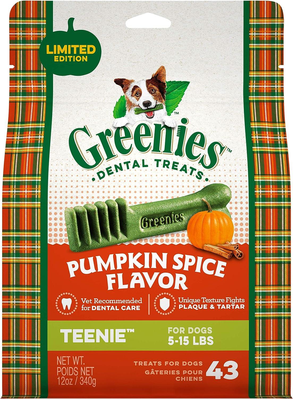 GREENIES Pumpkin Spice Flavor Natural Dental Dog Treats, All bone sizes