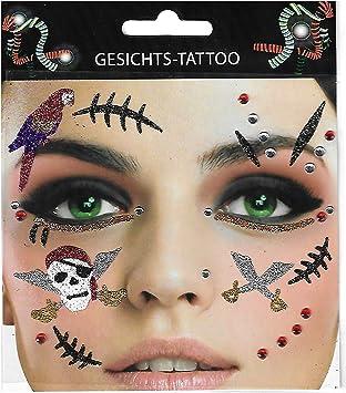 Cara adhesivo ~ ~ pirata Tatuaje pirata novia Carnaval Soltero ...