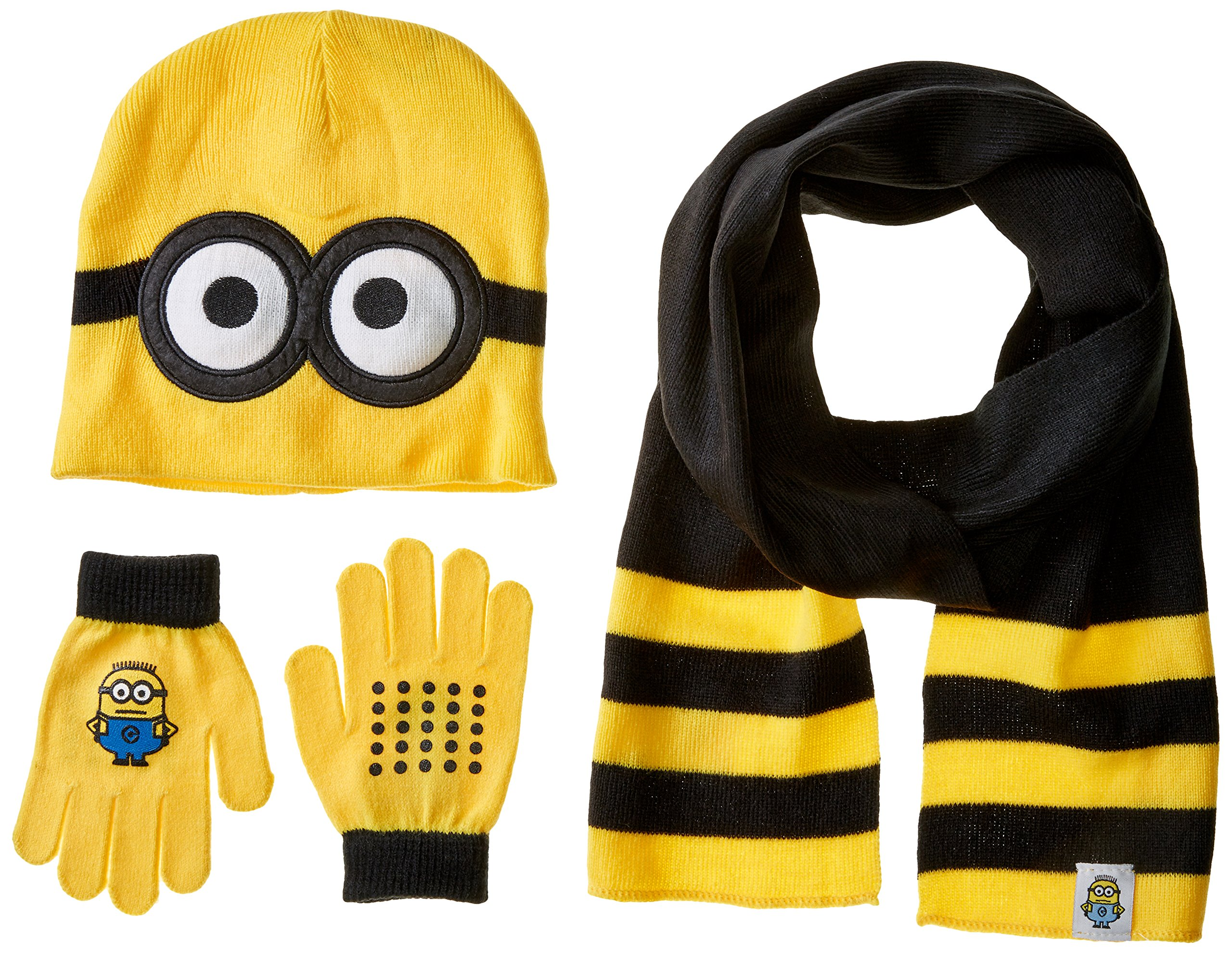 Despicable Me Boys' Little Pop Up Minions Beanie Glove and Scarf Set, Multi, One Size