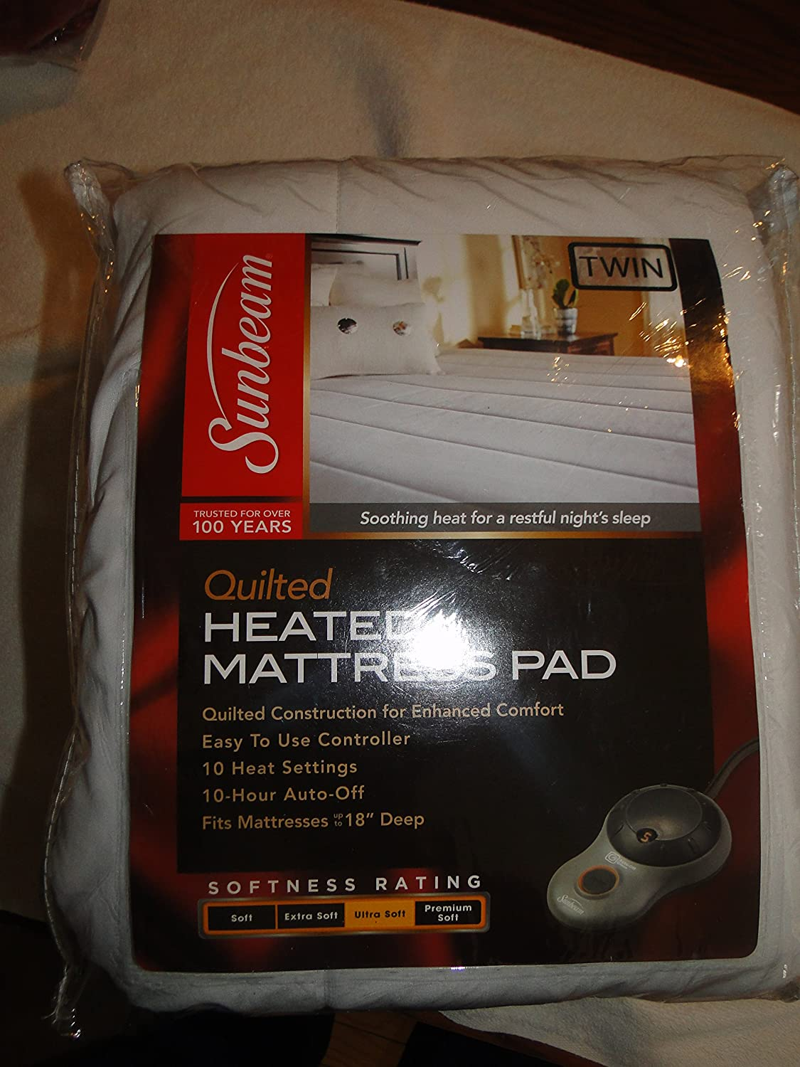 Sunbeam Quilted Polyester Heated Mattress Pad with EasySet Pro Controller,  Ultra Soft Muscle Soothing Comfort, ...