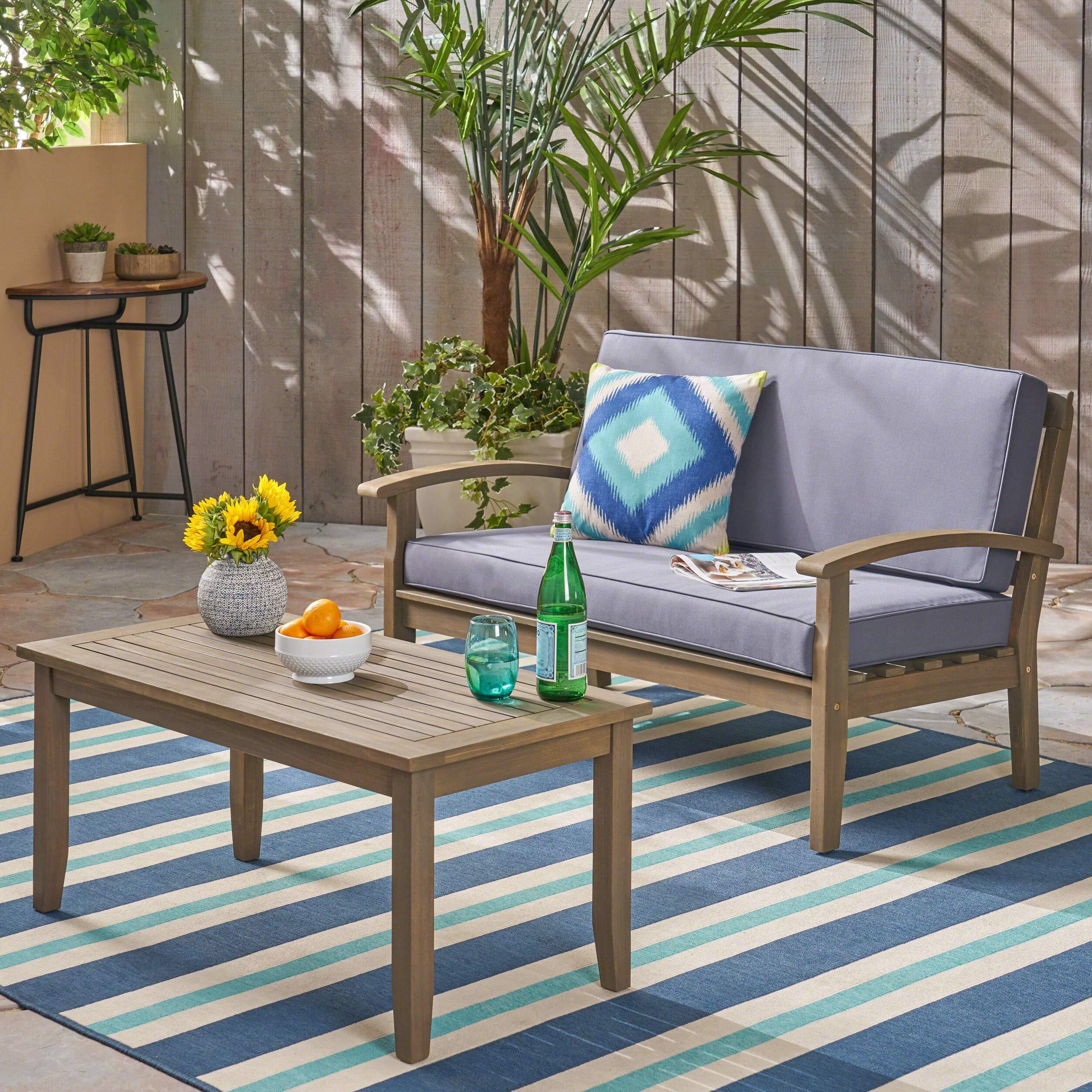 Terrific Preston Outdoor Acacia Wood Loveseat And Coffee Table Gray Evergreenethics Interior Chair Design Evergreenethicsorg