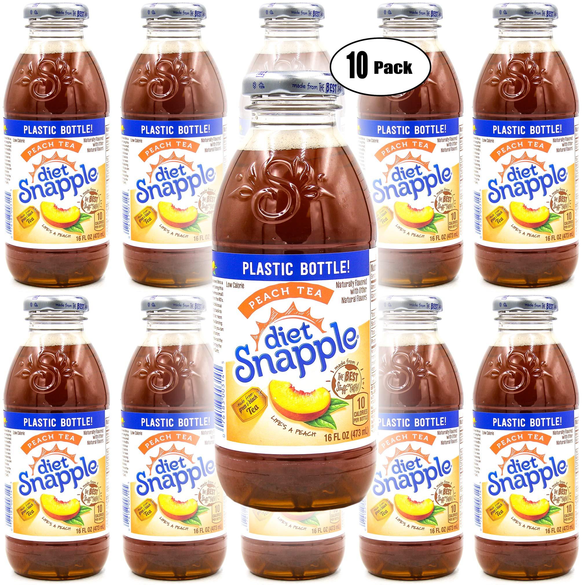 Snapple Diet Peach Iced Tea, 16oz Bottle (Pack of 10, Total of 160 Fl Oz)