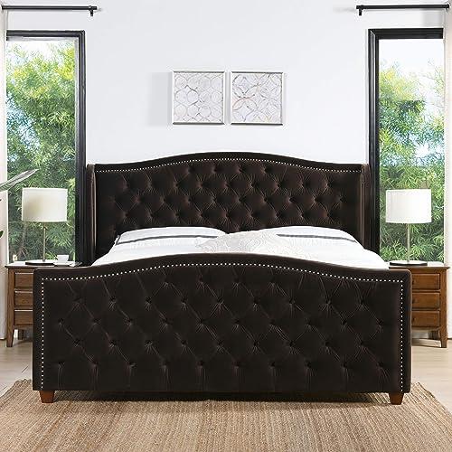 Jennifer Taylor Home Marcella Upholstered Shelter Headboard Bed Set