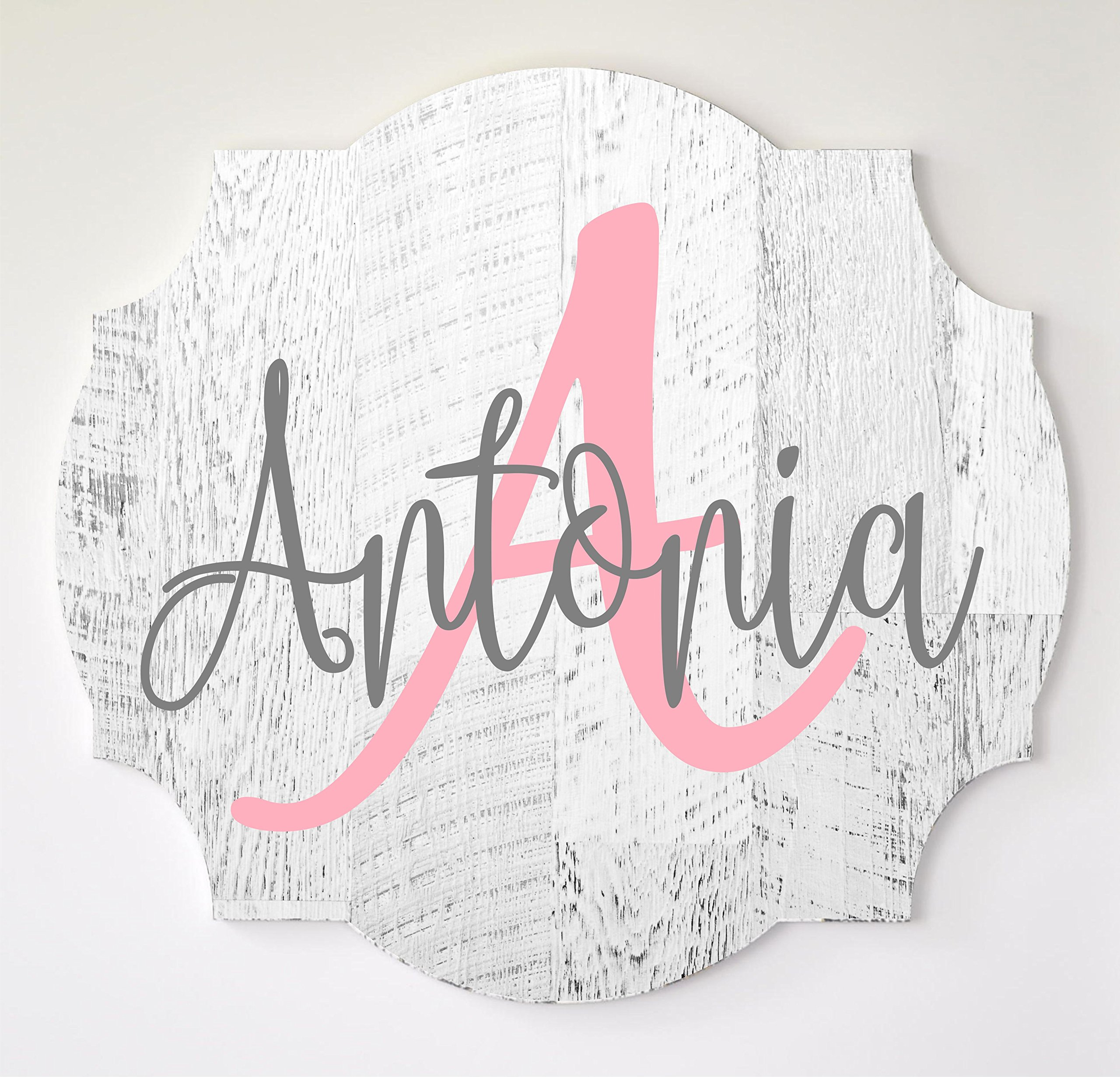 Baby Name Sign Personalized Scalloped Edge for Nursery