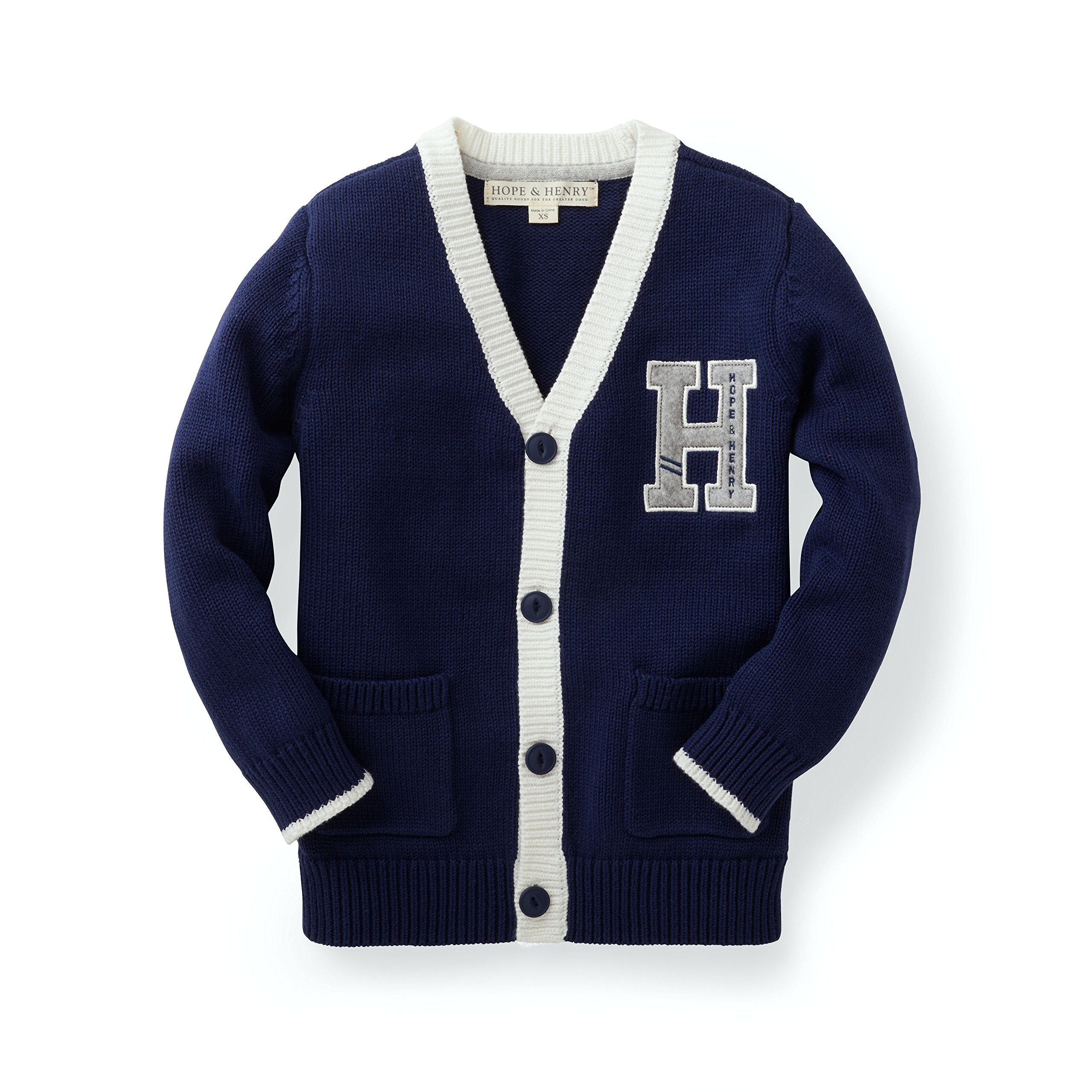 Hope & Henry Boys' Navy Varsity Cardigan Made with Organic Cotton