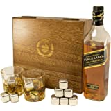 Whiskey sipping stones - Large Set of 8 Stainless steel beverage chilling rocks- Includes 2 drinking glasses and a velvet bag - Keeps your drink Ice cold and no water dilution - stored in a gift box