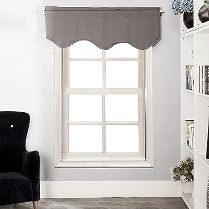 Aquazolax Une Pièce de Solide Fenêtre Brise-bise Rideaux Cuisine, 132 cm x  45 cm (L x H), Gris