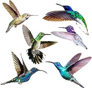 Hummingbird Window Clings - Anti Collision Decals to Prevent Bird Strikes on Doors & Windows - Static, UV Resistant & Non Adhesive Vinyl Cling - Deterrent Decal & Glass Decor to Alert Birds (1)