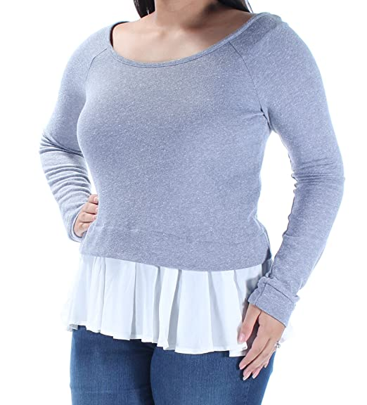 928462bc4c7 Chelsea Sky Womens Heathered Ruffled Trim Pullover Top Blue XL at Amazon Women s  Clothing store