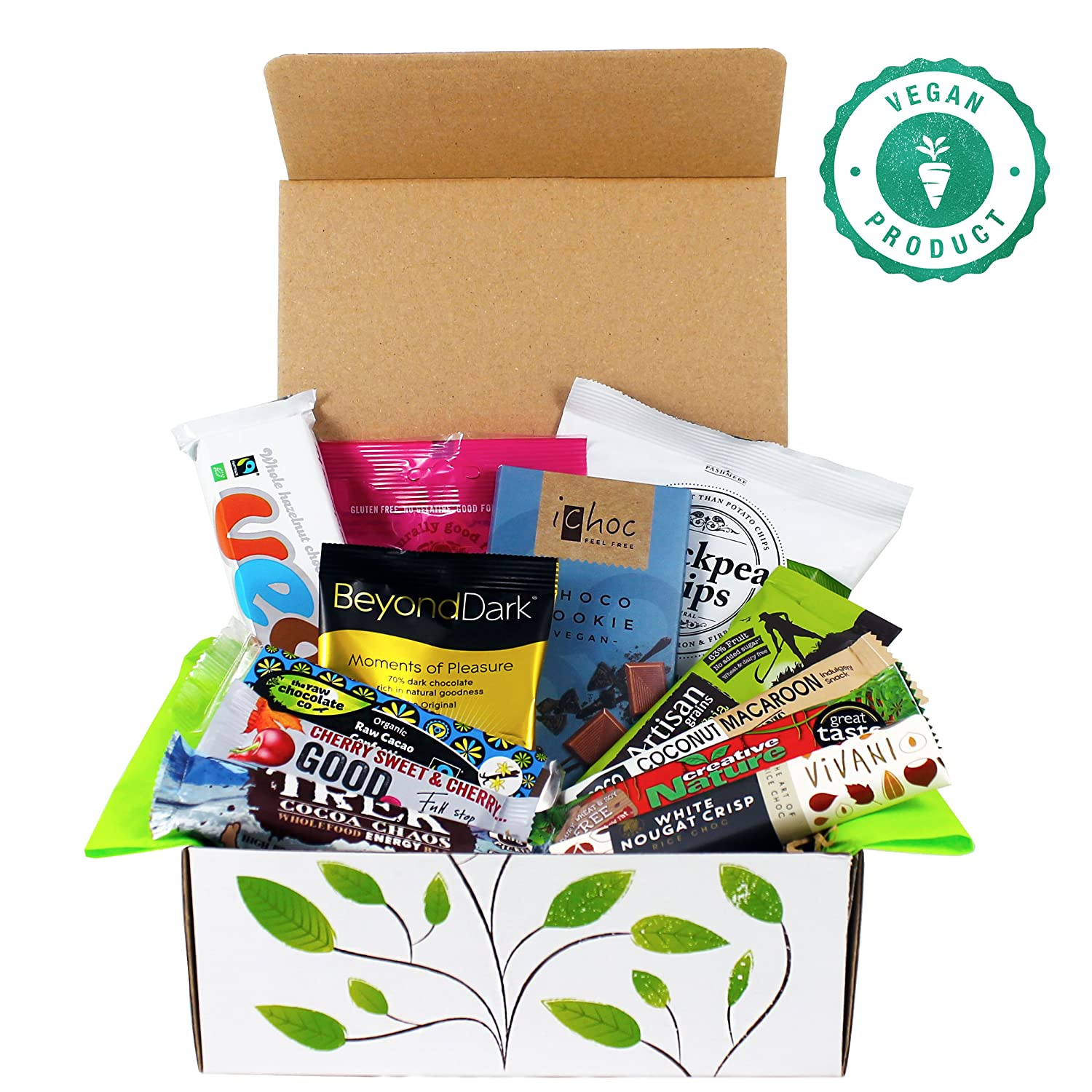 Hampers and gourmet gifts amazon vegan chocolate and snack treat hamper gift box negle Choice Image