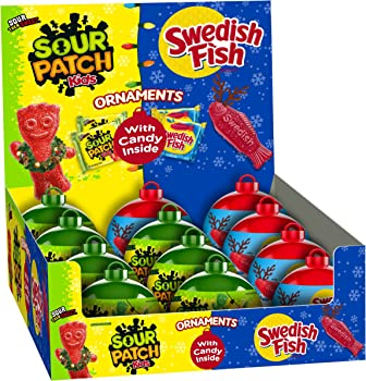 12-Pack Sour Patch Kids and Swedish Fish Mixed Holiday Ornaments, 1 Ounce