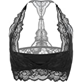 DotVol Women Sexy Floral Lace Padded Halter Racerback Bralette Bustier Breathable Crop Top Bra