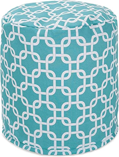 Majestic Home Goods Teal Links Indoor Outdoor Bean Bag Ottoman Pouf 16 L x 16 W x 17 H