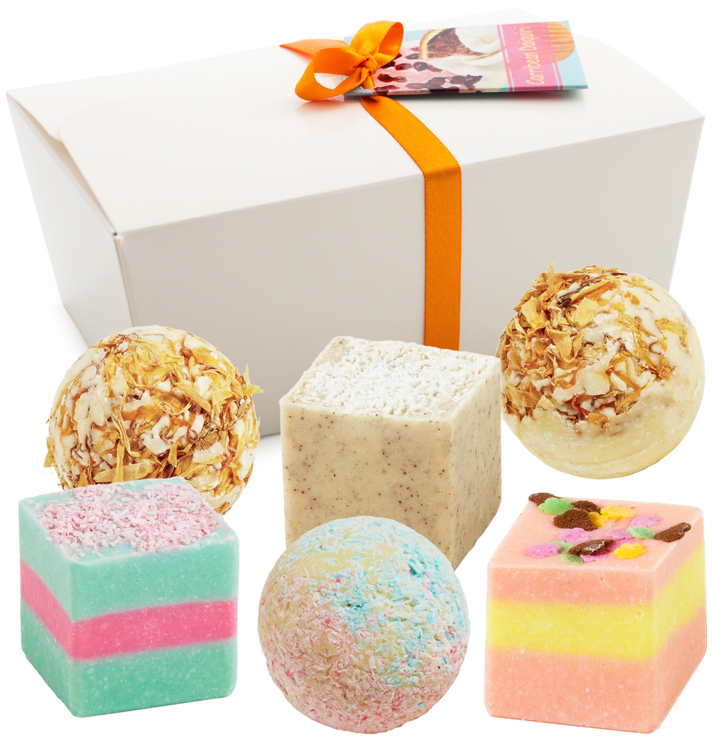 "BRUBAKER Cosmetics 6 Handmade ""Caribbean Daiquiri"" Spa Bath Bombs Bath Melts Bath Truffles Gift Set - All Natural Vegan, Organic Shea Butter, Cocoa Butter and Olive Oil Moisturize Dry Skin"