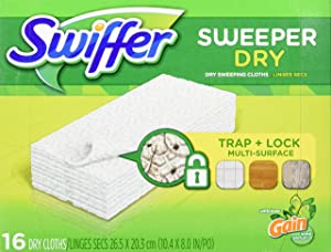 Swiffer Sweeper Dry Sweeping Pad Multi Surface Refills for Dusters Floor Mop, Gain, 16 Count (Packaging May Vary)