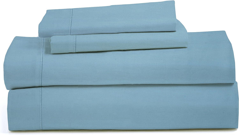 RDM Koncept Chateau De Robernier Collection T1500 Sheet Set Solid Combed Cotton Sateen, King, Aqua