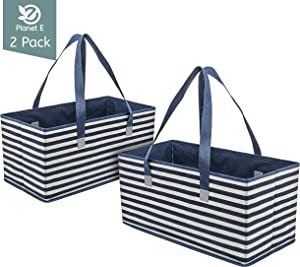Planet E Reusable Grocery Shopping Bags Trunk Size Extra Large Collapsible Boxes with Reinforced Bottoms Made of Recycled Plastic (Pack of 2)