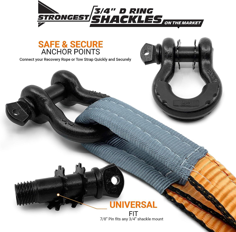 Arbre robuste Saver treuil Sangle de remorquage hors route et corde de r/écup/ération pour le camion tirer Stuck Jeep Lab-Test/és 35 000 lb Sac de rangement 3 x 8 2PK 2Pk GearAmerica Orange