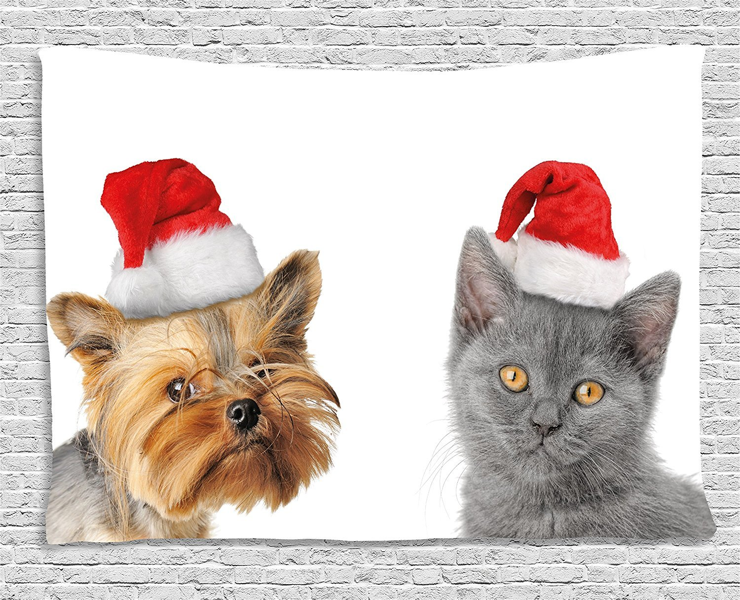 Christmas Tapestry, Adorable Cat and Dog with Xmas Hats Domestic Pet Animals Holiday Celebration, Wall Hanging for Bedroom Living Room Dorm, 80 W X 60 L Inches, Orange Grey Red