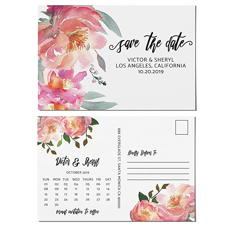 Lilac /& Pink Rustic Bunting /& Floral Personalized Wedding Save The Date Cards