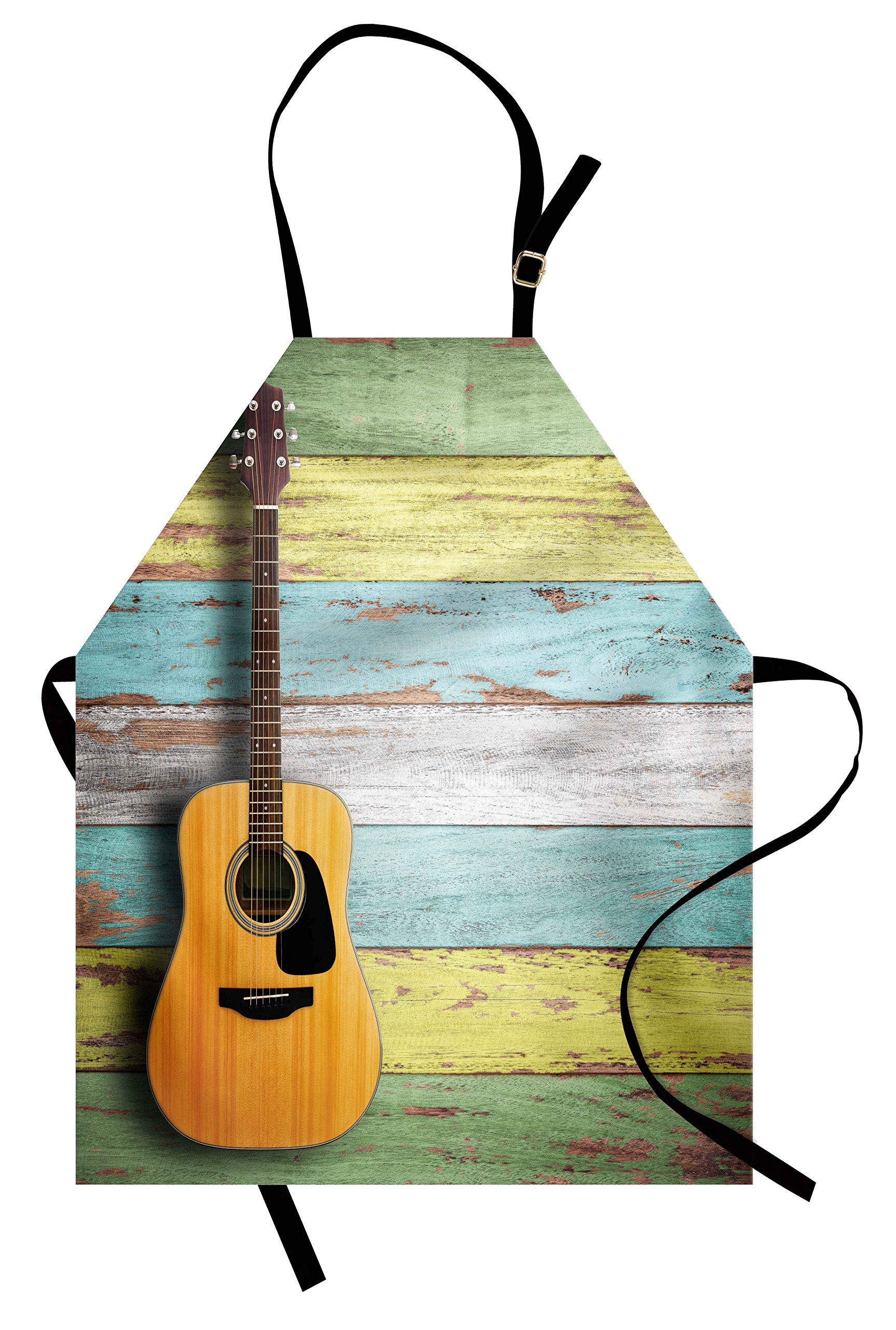 Ambesonne Music Apron, Acoustic Guitar on Colorful Painted Aged Wooden Planks Rustic Country Design Print, Unisex Kitchen Bib Apron with Adjustable Neck for Cooking Baking Gardening, Multicolor by Ambesonne (Image #1)