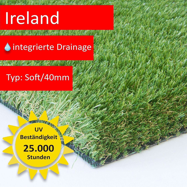 Gr/ö/ße: 400x950 cm Unglaubliche 40 mm dick und bis 5 m Breite erh/ältlich F/ür Balkon Terrasse und Garten Steffensmeier Premium Kunstrasen Ireland