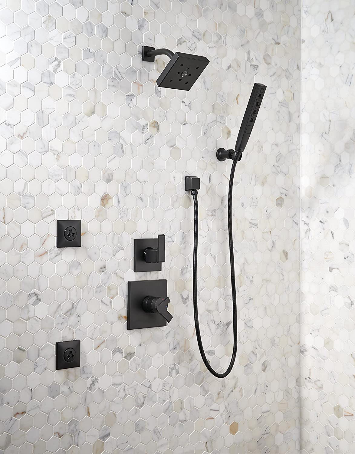 Delta Faucet 5-Spray Touch-Clean H2Okinetic Wall-Mount Hand Held Shower with Hose, Matte Black 55140-BL - - Amazon.com