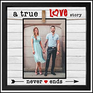 True Love Picture Frame 4x6 or 5x7 Anniversary Photo Frame For Wife or Husband. Gift For Boyfriend or Girlfriend. Cleverly Designed Love Photo Frame. Trending Glassless Model. 10x10 Frame With Clip.