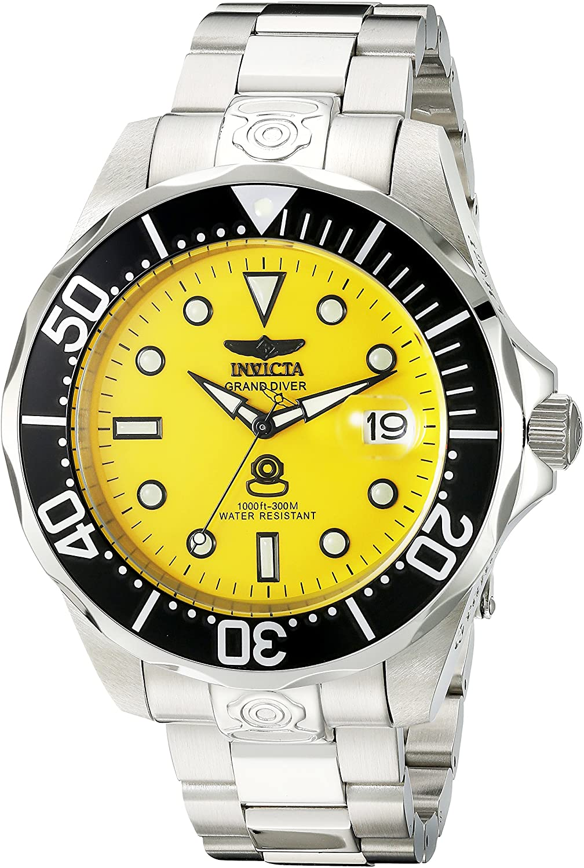 Invicta 3044 Grand Diver - Reloj automático para Hombre, Acero Inoxidable, Color Plateado y Negro