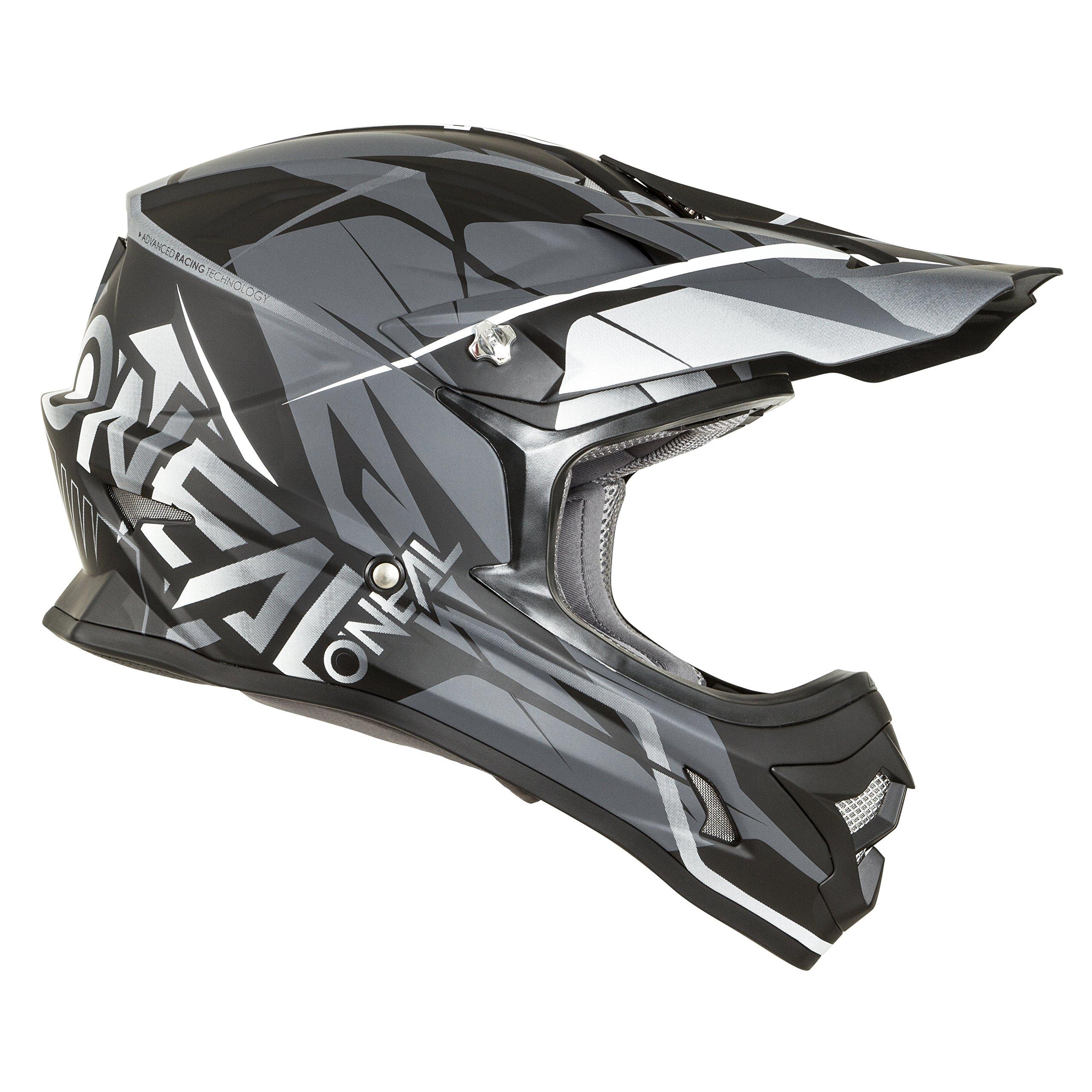 O'Neal 3 SRS Mens Off-Road Free Rider Helmet (Black/Grey, X-Large)