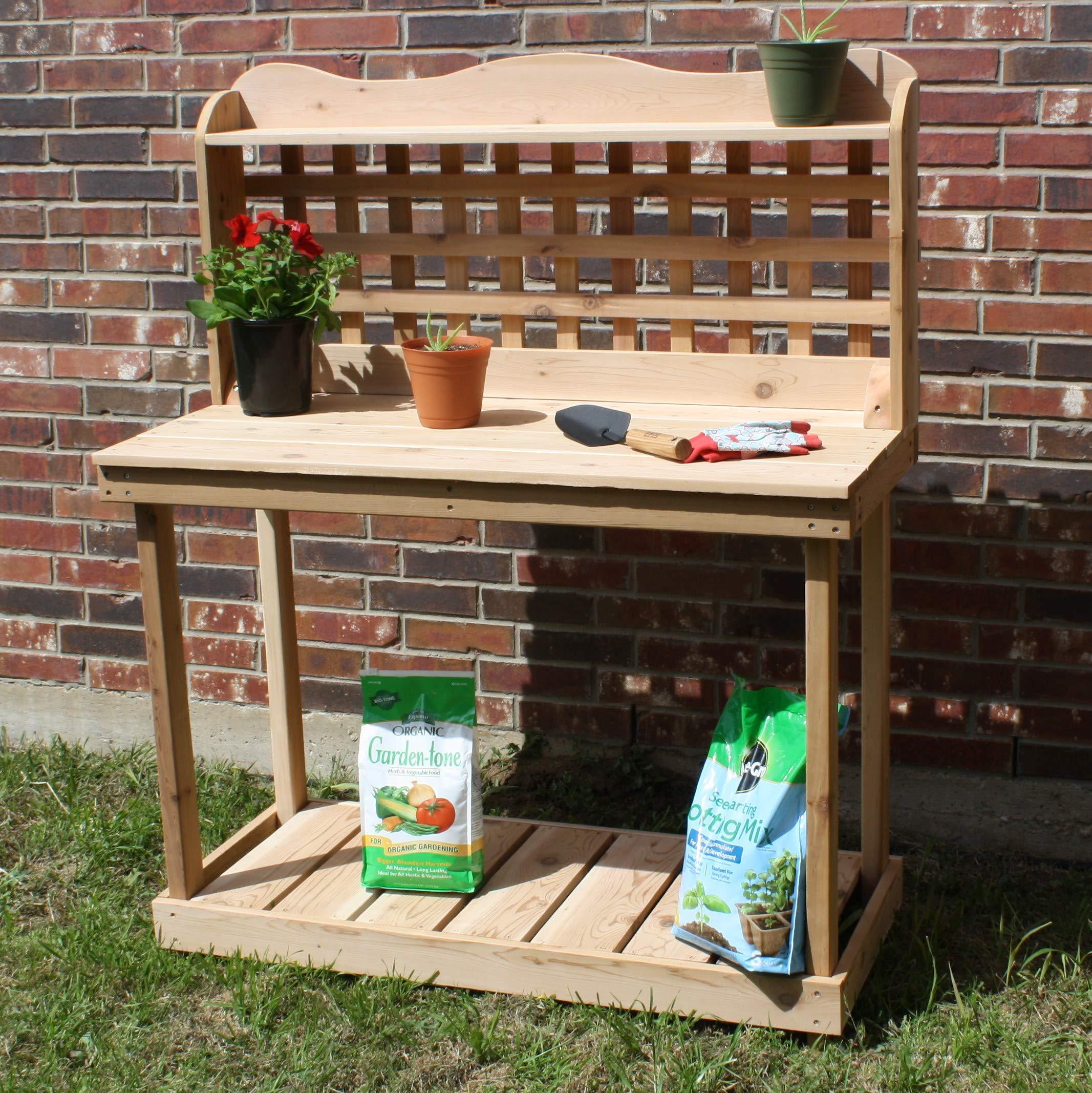 THREE MAN Cedar Decorative Lattice Gardening Potting Bench - 6 Foot Natural by THREE MAN (Image #4)