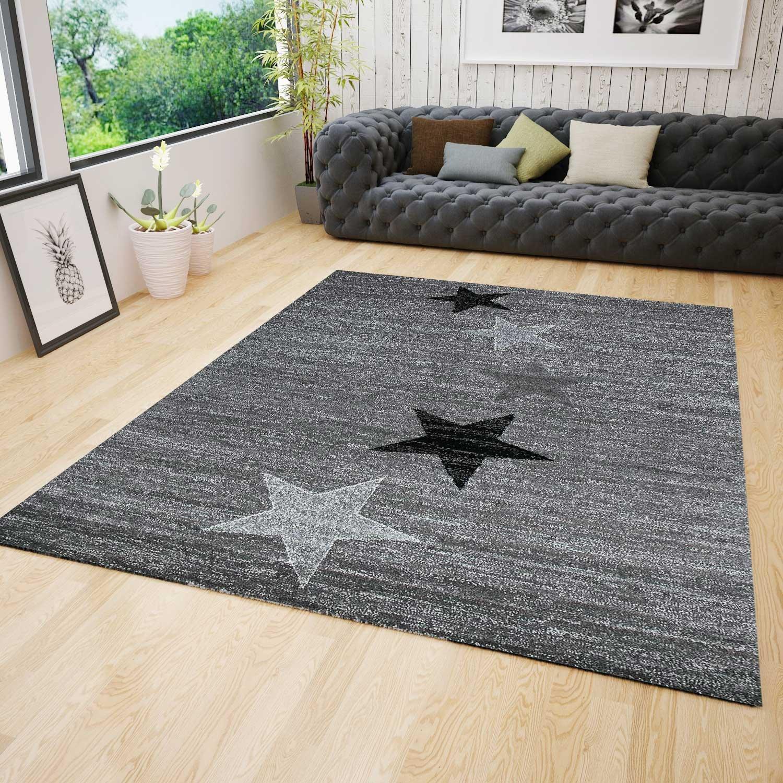 VIMODA Teppich Modern Design Grau Schwarz Weiß Kurzflor Stern Muster - Pflegeleicht und Top Qualität, Maße 200x290 cm
