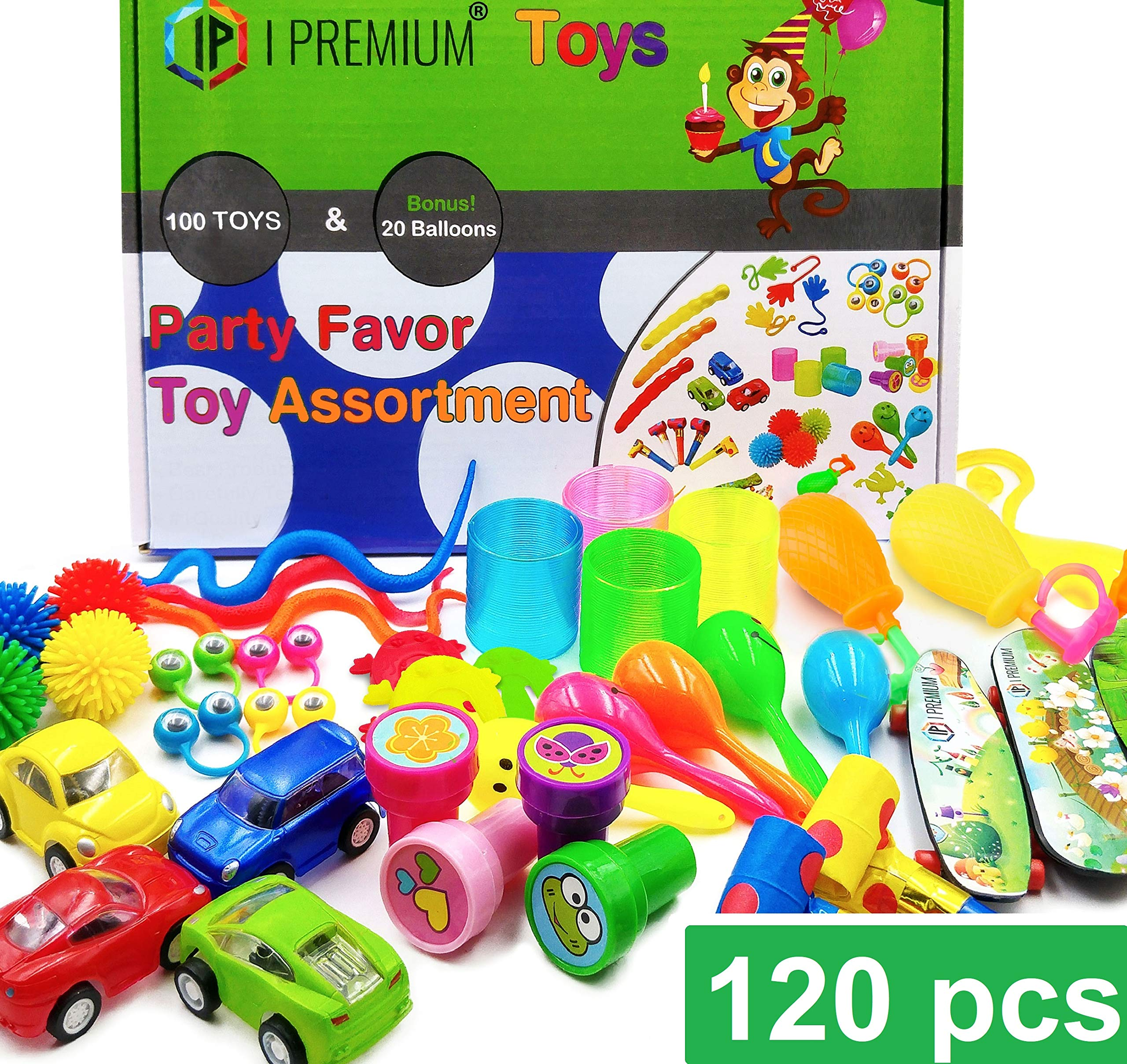 IP I Premium 120 Pcs Toy Assortment, Party Favors for Kids, Bulk Toys, Pinata Filler, Goodie Bag Fillers, Treasure Box, Prizes for Classroom, Halloween, Carnival and Birthday. for Boys and Girls by IP I Premium