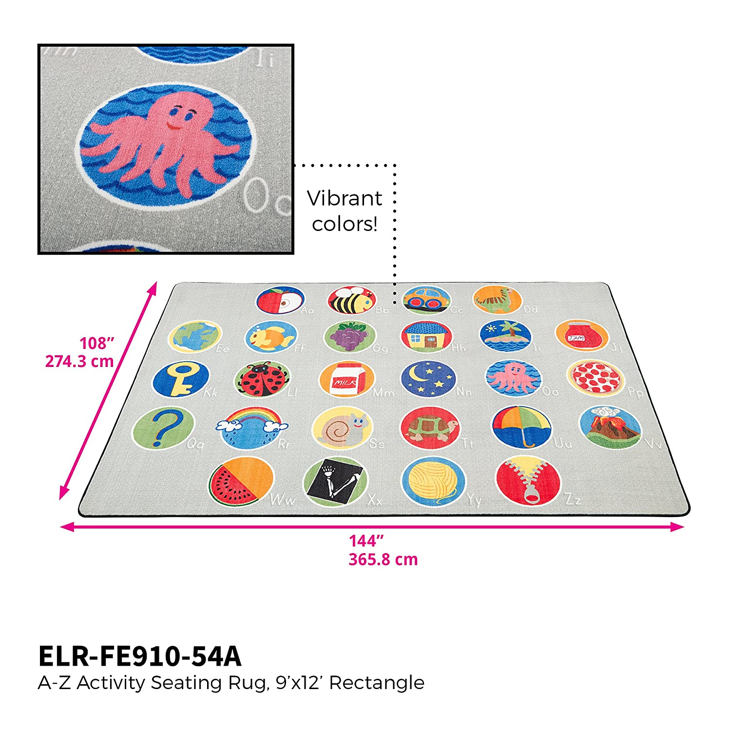 ECR4Kids A-Z Educational Activity Seating Rug for Children 6 x 9-Feet Rectangle School Classroom Learning Carpet