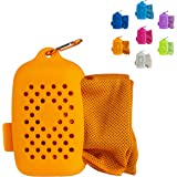 Journext Magic Cooling Towel for Sports, Travel, Beach, Gym, Yoga and More, Instant Cooling Effect, Soft, Reusable (Orange, M)
