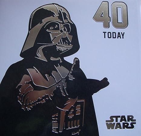 Amazon.com: Star Wars Tarjeta de 40º cumpleaños sw558 Darth ...