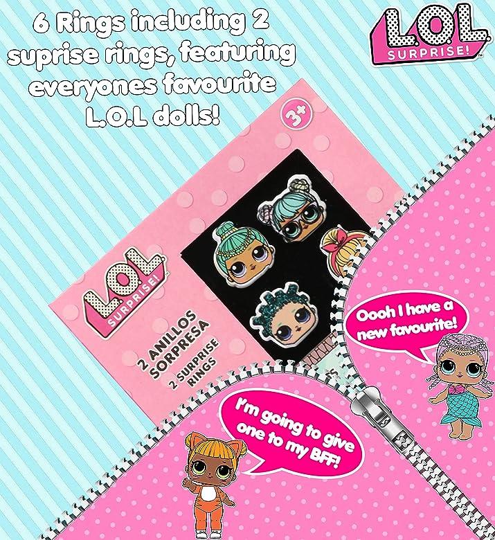 LOL Surprise! Paquete De 6 Anillos para Niñas con Sus Muñecas LOL Favoritas | Conjunto De Anillos Ajustables | Accesorios De LOL para Cumpleaños De ...
