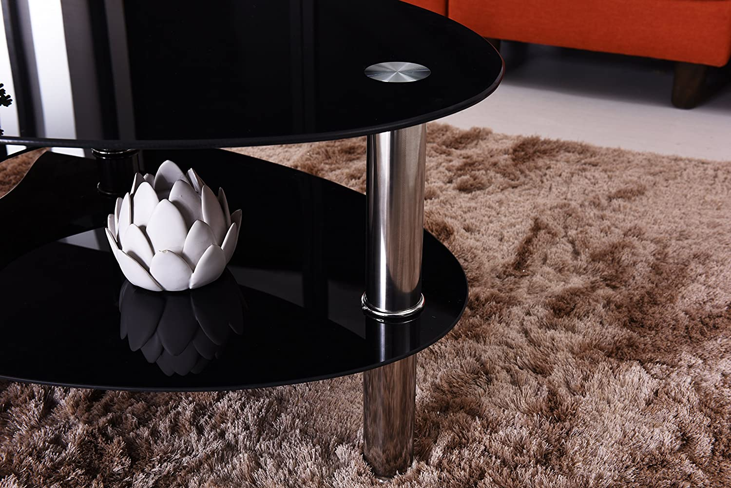Clear Hodedah Three Tier Oval Tempered Glass Coffee Table