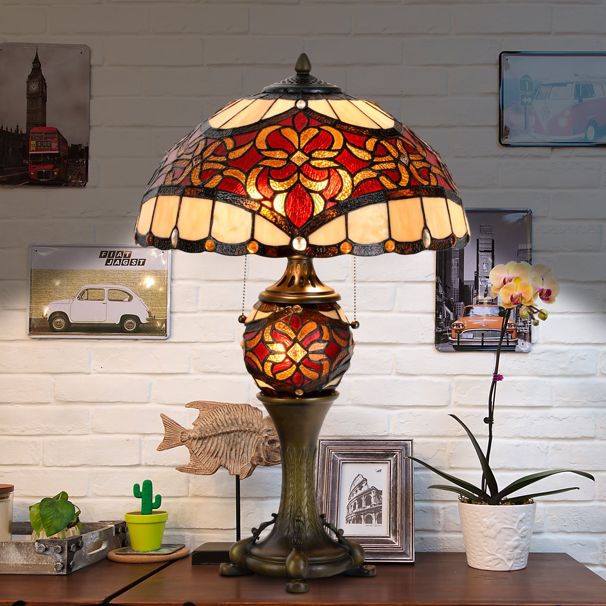 Cloud Mountain Tiffany Style 16'' Lampshade Table Lamp Baroque Desk Lamp Floral Stained Glass Double Lit Home Decor Lighting