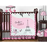 Sweet Jojo Designs 11-Piece Pink, Black and White Stripe Paris Baby Girl Bedding French Eifell Tower Crib Set Without Bumper
