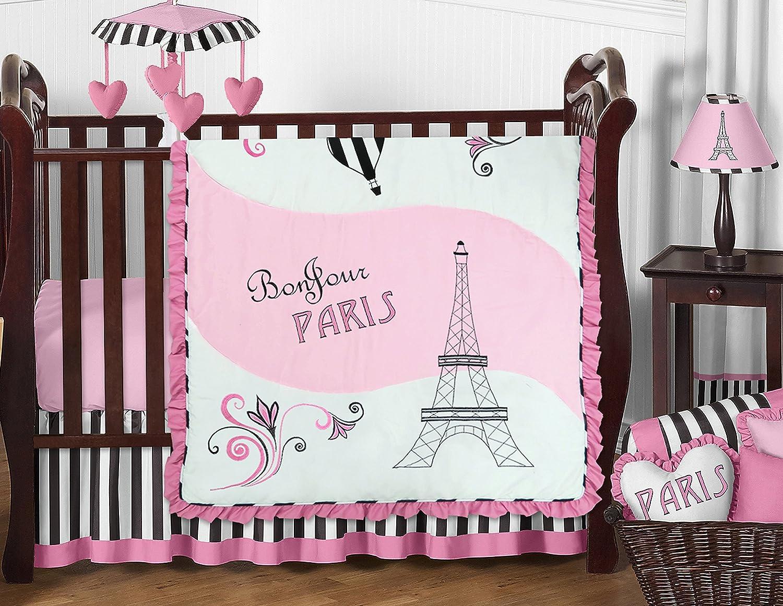 Pink, Black and White Stripe Paris Baby Girl Bedding 11 Piece French Eifell  Tower Crib Set...