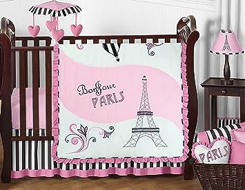 sweet jojo designs 11 piece pink black and white stripe paris baby girl bedding - Baby Girl Bedding