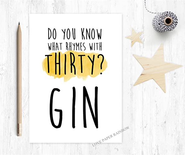 30th Birthday Card Funny Gin Alcohol